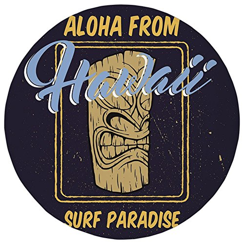 Classics Round Bath Bar - Round Rug Mat Carpet,Tiki Bar Decor,Aloha From Hawaii Surf Paradise Retro Style Tiki Statue Print Decorative,Indigo Apricot Light Blue,Flannel Microfiber Non-slip Soft Absorbent,for Kitchen Floor Bath