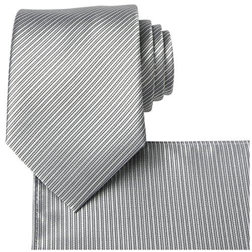 KissTies Solid Silver Gray Tie Set Striped Necktie + Pocket Square (Stripe Tie Silver)
