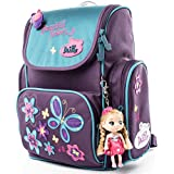 Delune Cute Butterfly Kids Girls Toys Lightweight Backpack with Doll Key Ring | Water Resistant Isolated Back to School Bag