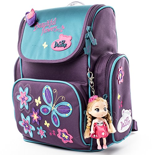 Delune Kids Backpack Cute Schoolbag with Lovely Doll for Girls and Boys - Waterproof/Lightweight/Noble