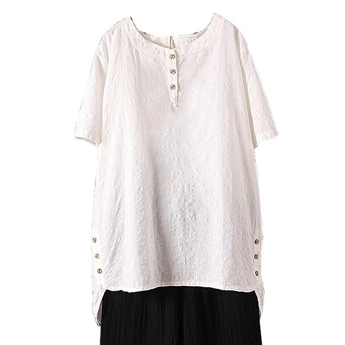 ... Corta Oversize Pullover Elegante T-Shirt Loose Jersey Casual Llanura Cuello Redondo Irregural Dobladillo Blusas M-5XL: Amazon.es: Ropa y accesorios