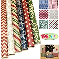 JOYIN 6 Rolls Kraft Christmas Gift Wrapping Paper(30î X 156î) for Holiday Gift Wrap, Christmas Gift Wrapping Decoration, Birthday Gift, Wedding and Party Favors