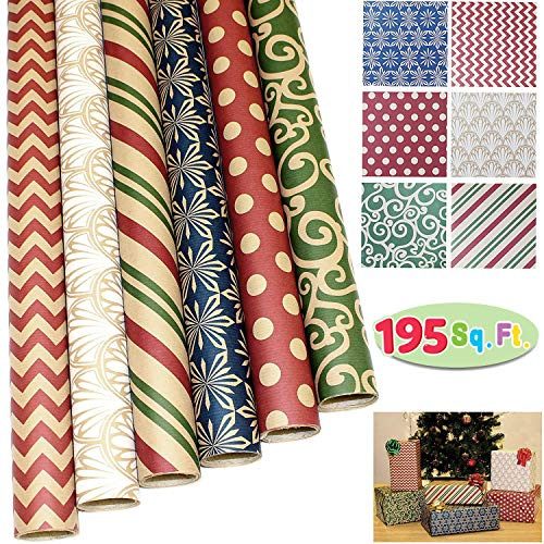 JOYIN 6 Rolls Kraft Christmas Gift Wrapping Paper(30î X 156î) for Holiday Gift Wrap, Christmas Gift Wrapping Decoration, Birthday Gift, Wedding and Party Favors (Stripe Gift Christmas Wrap)