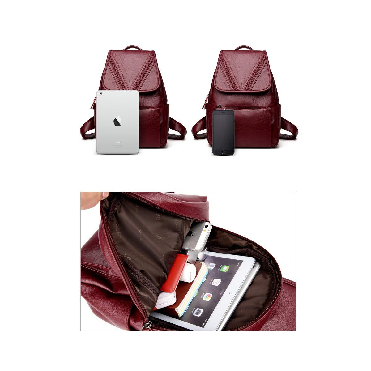 Haoyushangmao Girls Multifunctional Backpack for Daily Travel//Outdoor//Travel//School//Work//Fashion//Leisure PU Leather Sleek Minimalist. Black//Blue//Red//Bronze