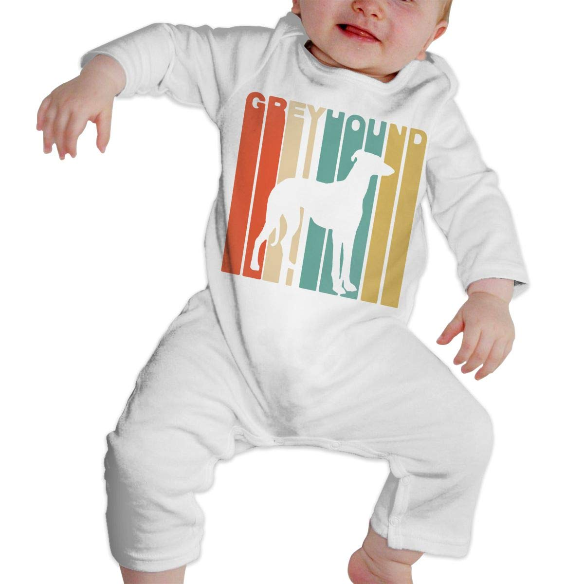 Baby Infant Toddler Cotton Long Sleeve Vintage Style Greyhound Baby Clothes One-Piece Romper Clothes