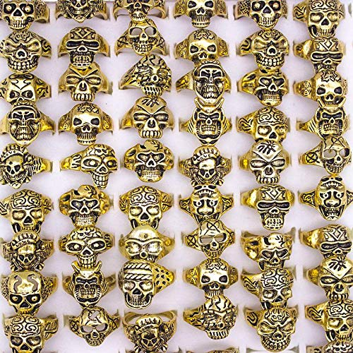 - 25 Pieces Vintage Skull Rings for Women Metal Zine Alloy Punk Small Skeleton Couple Rings Engagement Ring Men Jewelry