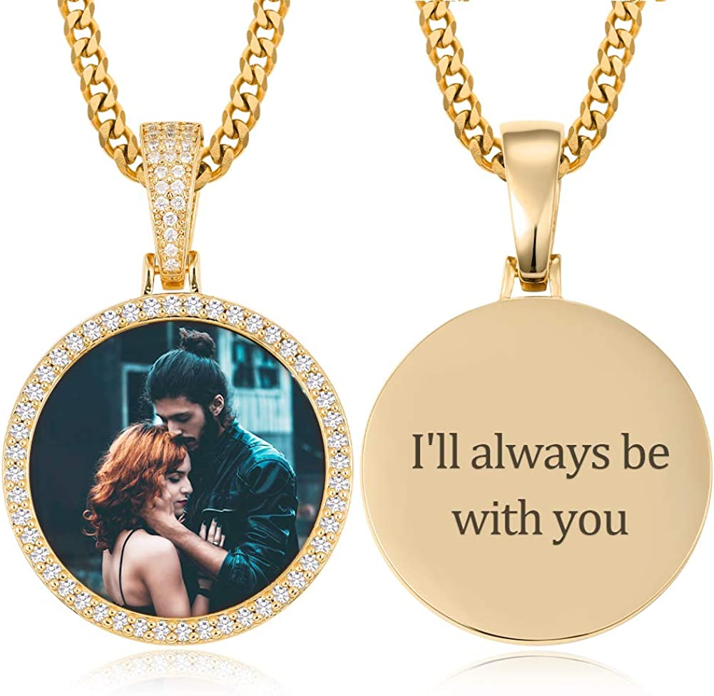 YIMERAIRE Hip Hop Memory Pendant with Picture for Men Women Personalized Photo Round Necklace