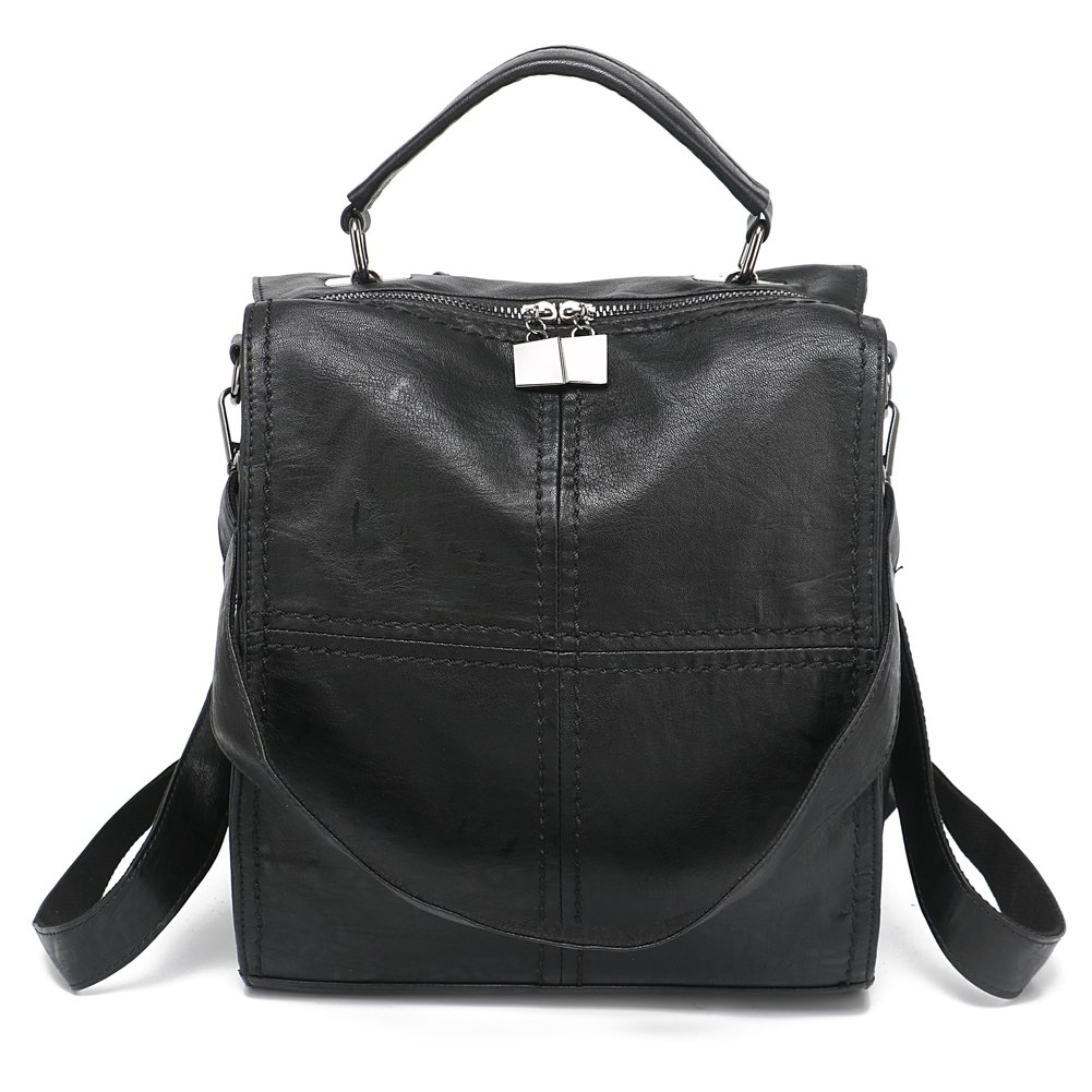 Leparvi Women Backpack Purse Leather Shoulder Bag Square Rucksack Vintage Satchel(Black)