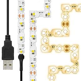 LEDテープライト (90度 曲がる) 貼レルヤ USB (電球色) 2m 120灯 角に合わせて曲げながら両面テープで貼り付け可能なフレキシブルタイプ ハサミでカットして長さの変更ができる 3000K JTT Online LEDTLMHAUIN2M