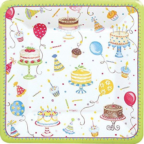 Green Square Cake Plate - Entertaining with Caspari Birthday Cakes Square Salad/Dessert Plates, Green, 8-Pack