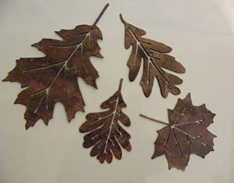 Amazon.com: Leaf Accents Set of 4 Metal Wall Art Decor: Home & Kitchen