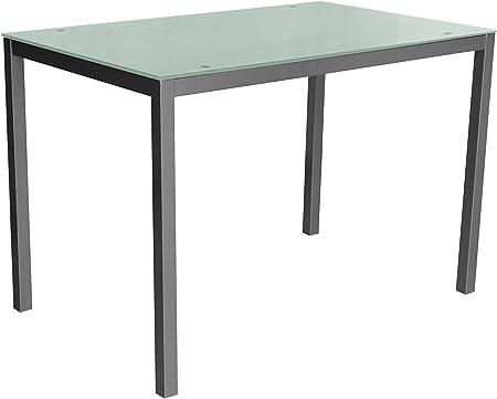 Mirror 110 blanca Mesa metálica y cristal blanco para comedor, cocina, balcón, terraza interior, habitación juvenil: Amazon.es: Hogar