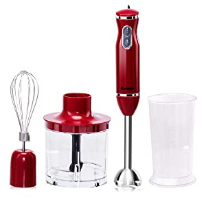 Costway 4-in-1 Hand Blender 300W 2-Speed Electric Multifunctional Immersion Stick Blender w/ 500ml Food Chopper, Egg Whisk, and 700ml Beaker (Red)