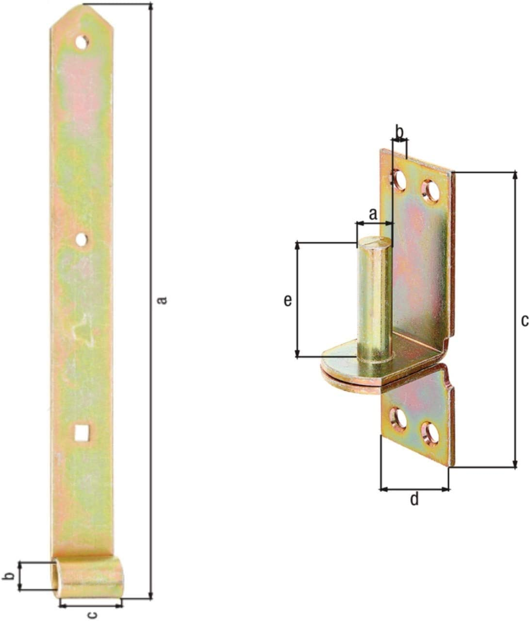 HAUS /& DACH Ladenband Set Durchmesser Kloben: 10 mm Eng gelb verzinkt inkl Kloben Ladenbandl/änge: 500 mm