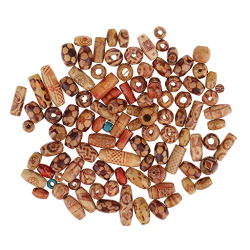 Fenteer Wholesale 100 Pieces natural painted wood beads loose wooden bead bulk lots ball for jewelry making craft hair diy macrame rosary bracelet necklace mix color & ()