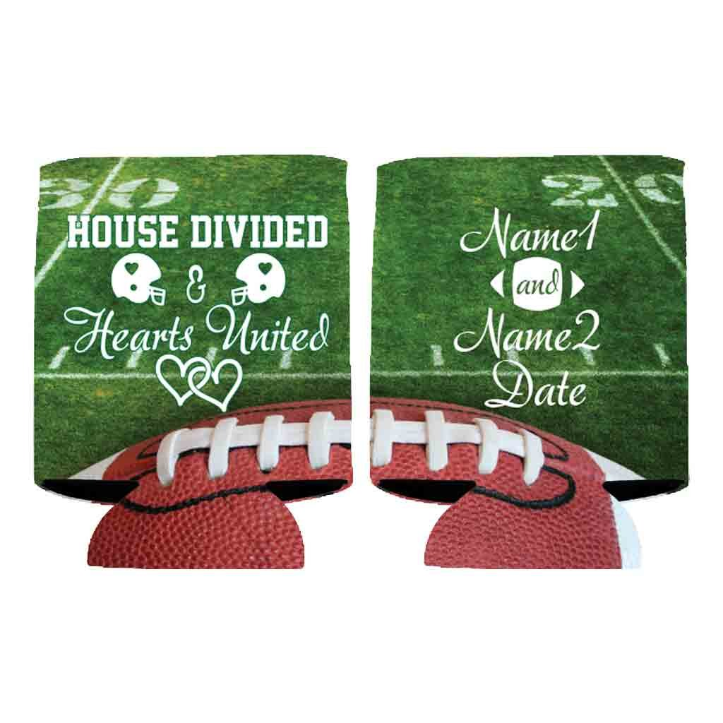 Custom Football Wedding Can Cooler - House Divided Hearts United (100) by VictoryStore