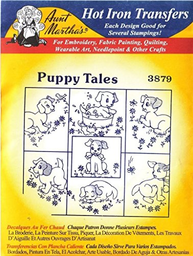 - (Ship From USA) Puppy Tales Aunt Martha's Hot Iron Embroidery Transfer / Aunt Martha hot iron transfers #3879 - Puppy Tales.,Use for (embroider, embroidering) embroidery, fabric painting, wearable a