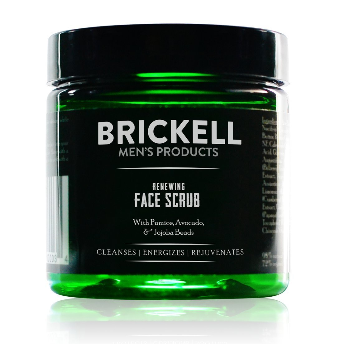 Brickell Men's Renewing Face Scrub for Men, Natural and Organic Deep Exfoliating Facial Scrub Formulated with Jojoba Beads, Coffee Extract and Pumice, 4 Ounce, Scented by Brickell Men's Products