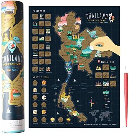 Gam3Gear Scratch Off Map Edición de Tailandia con Scratch Pen -World Map Travel Gift Rastrea tus aventuras, rastreador de viaje personalizado Mapa del póster / Travel Atlas Decor, prefecto para viajeros (15.75