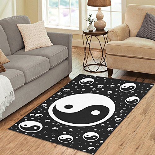 InterestPrint Home Decor Chinese Symbol of Taoism Yin-yang Area Rug Carpet 5'x 3'3