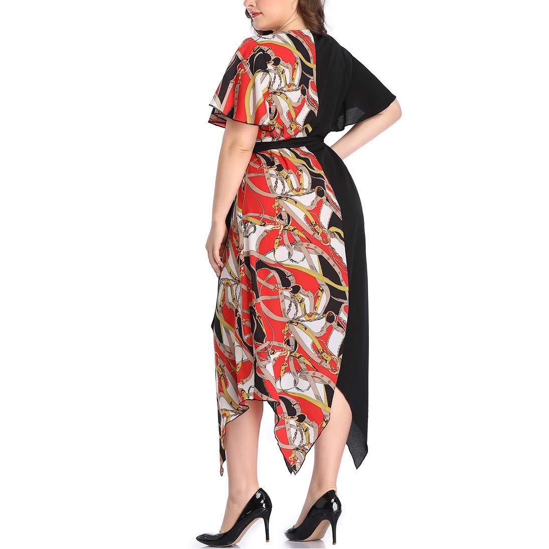 Short Bell Sleeve Print V Neck Women's Maxi Dress Party Dress Irregular Hem Patchwork Dress Purple by Jianekolaa_Dress (Image #3)