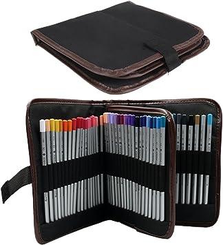 72 Holes Canvas Wrap Roll Pencil Case Pen Brush Holder Storage Leather School