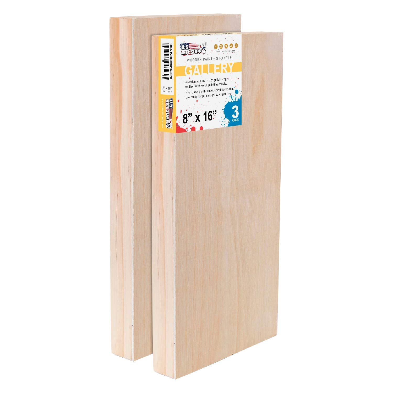 U.S Acrylic - Artist Depth Wooden Wall Canvases Encaustic Painting Mixed-Media Craft Gallery 1-1//2 Deep Cradle Pack of 3 Oil Art Supply 8 x 16 Birch Wood Paint Pouring Panel Boards