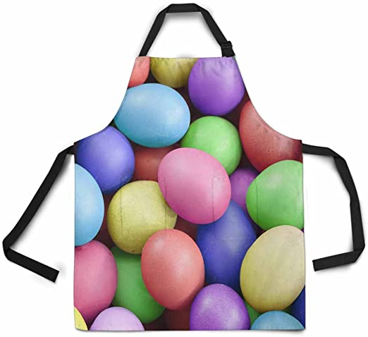 INTERESTPRINT Adjustable Bib Apron for Women Men Girls Chef with Pockets Rabbit Easter Silhouette Pattern Novelty Kitchen Apron for Cooking Baking Gardening Pet Grooming Cleaning