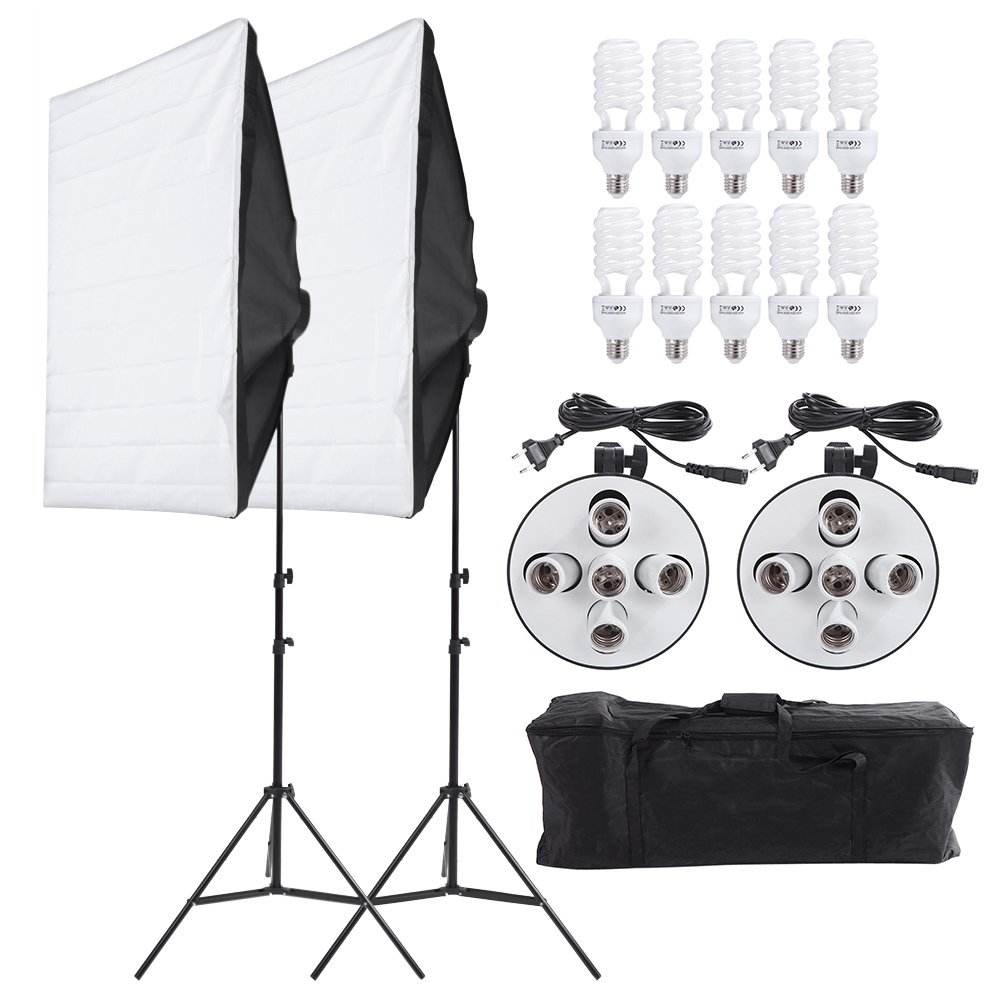 Andoer Studio Photography Lighting Kit Portrait Product Light Video Equipment (Softbox + 5in1 Light Socket + 10pcs 45W Bulb + Tripod Stand + Carrying Bag)