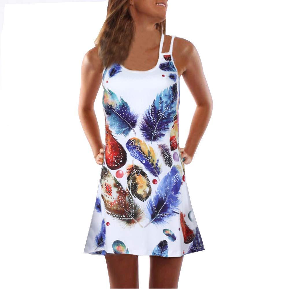 Beach Dress for Girls,Women Summer Vintage Sleeveless 3D Floral Print Bohe Tank Short Mini Dress,White,S