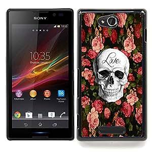 - Skull Love Rock Metal Rose Halloween - - Monedero pared Design Premium cuero del tir???¡¯???€????€???????????&