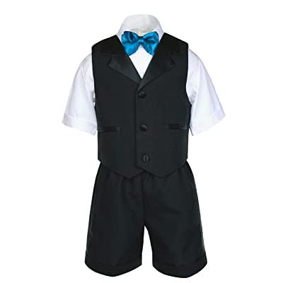 f23f5adad875 Unotux Baby Boys Black Short Vest Sets Suit Outfits Extra Turquoise Blue  Bow Tie