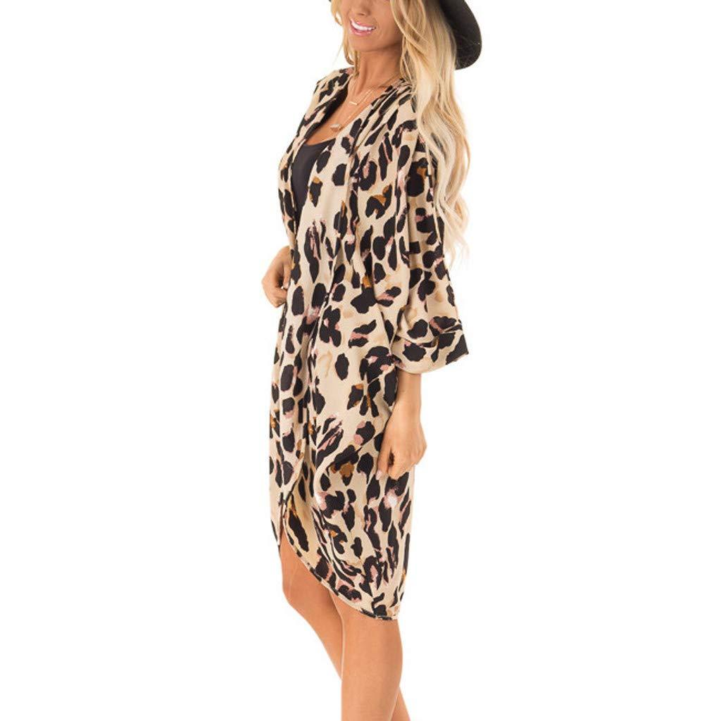 Morran Leoparden Muster Cardigan Offener Top Lose Schal Bikini Cover up Schulterjäckchen Mantel Tops Anzug Bikini Bademode Strand Badeanzug Kittel