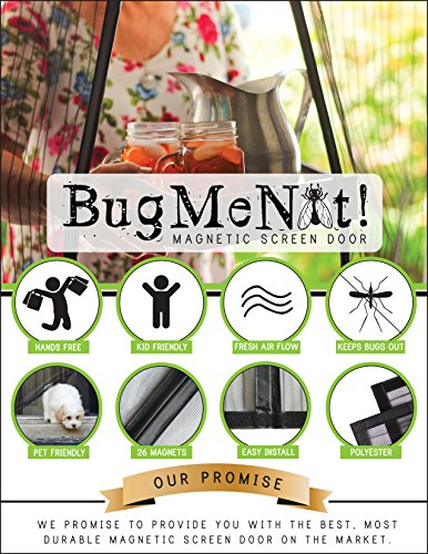Magnetic Screen Door Full-Frame Velcro Edges 26 Concealed Magnets Hands Free Closes Automatically Fits Doors Up To 32 x 82 (32