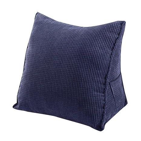 Woneart Almohadas de Lectura-Almohadas lumbares-Cojin cuña Cojines de Respaldo para sofá, Coche, Silla, Cama (Navy Blue, L: 55x55x28cm)