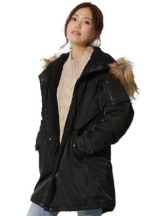 ファー襟付き中綿モッズコートレディース アウター モッズ 裏ボア付きコート ファー ミリタリーコート ジャケット フード付き 防寒 中綿コート
