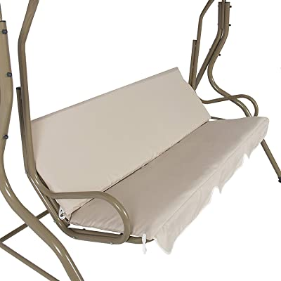 boyspringg Patio Swing Cushion Cover Waterproof Swing Seat Cover Replacement for 3 Seat Swing Chair All Weather Swing Chair Protection 60X20X4inch (Beige) : Garden & Outdoor