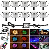 LED Deck Lights Kit, 10pcs Φ1.22 WiFi Wireless Smart Phone Control Low Voltage Recessed RGBW Deck Lamp In-ground Lighting Waterproof Outdoor Yard Path Stair Landscape Decor, Fit for Alexa,Google Home