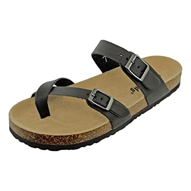 f9696908c55f OUTWOODS Women s Bork-30 Vegan Leather Toe-Loop Buckle Flats Sandals