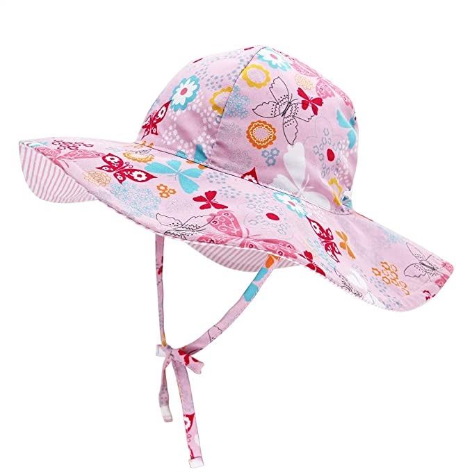 84446b16 Baby Double Sides Sun Hat Wide Brim for Boy Girl Toddler Kids Adjustable  Elastic Outdoor Beach