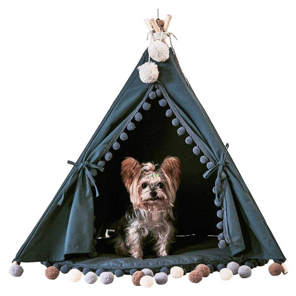 Grey One little dove Pet Teepee House Fold Away Pet Tent Furniture Cat Bed with Cushion 28 Inch Grey One