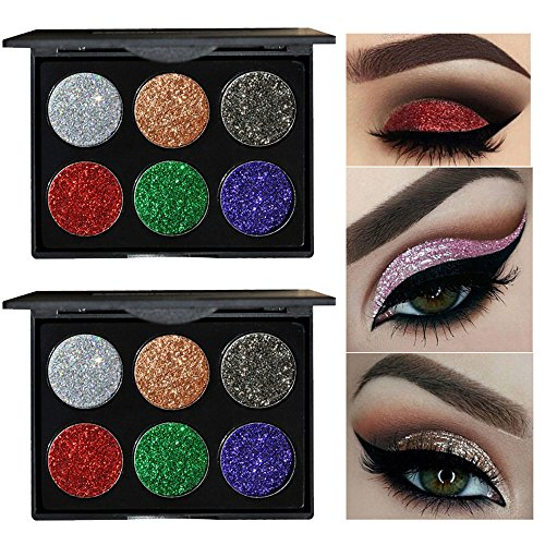 HANDAIYAN 6 Color Eyeshadow Powder Palette Shimmer Glitter Cosmetic Makeup Palette By DMZing (B)