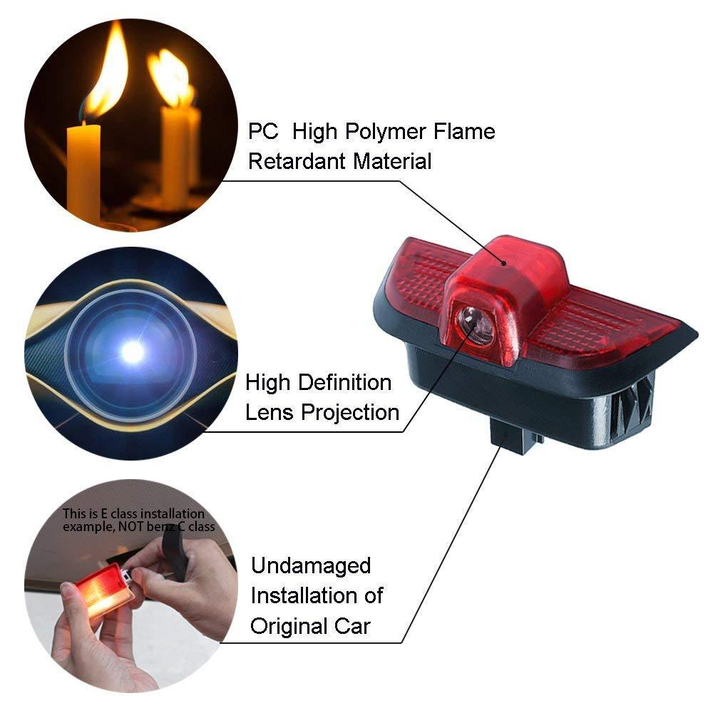 2 unidades Se/ñal de luz LED para puerta de coche con logo de proyecci/ón Ghost Shadow para Benz Clase C C260 C300 C200 C280 C230 W204 Series