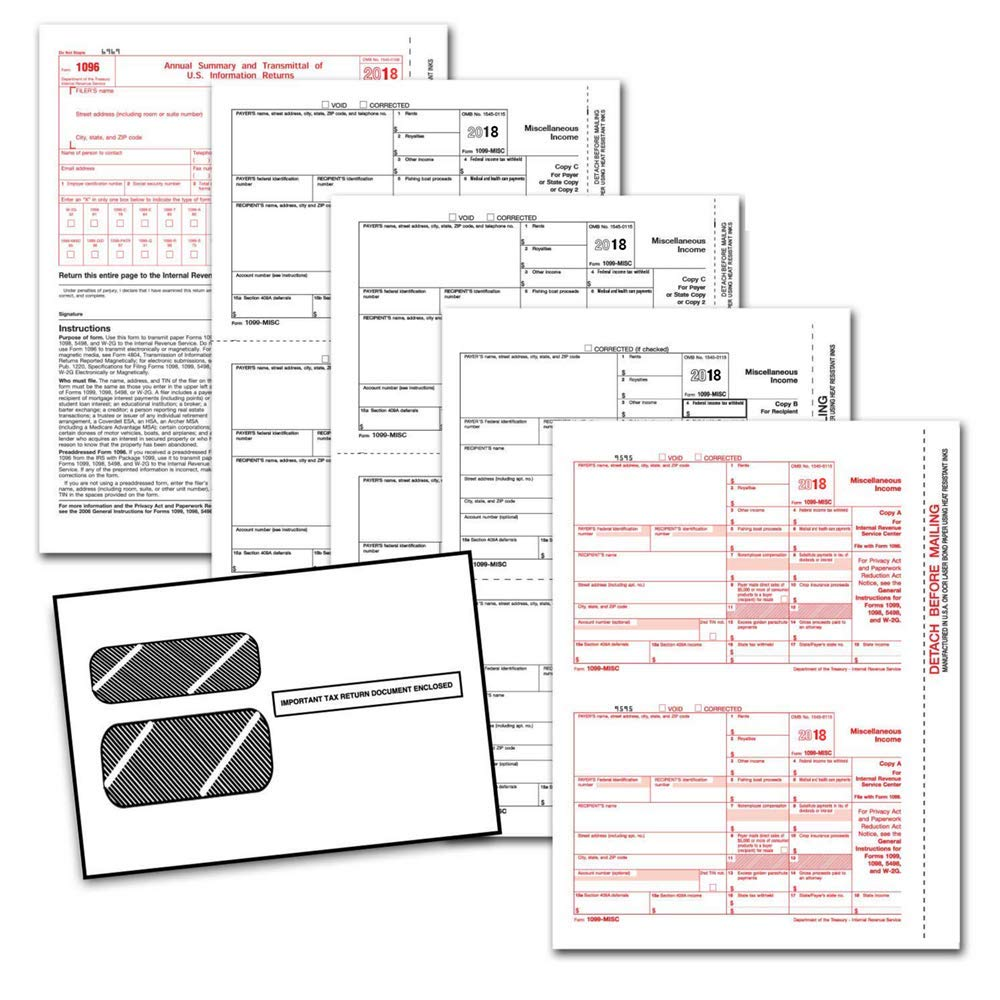 1099 Employer Laser Forms (1099) (4-Part) Kit 2018 with Self Seal Envelopes for 25 Employees) + 3 Free W-3 Transmittal Forms - IRS Aprroved