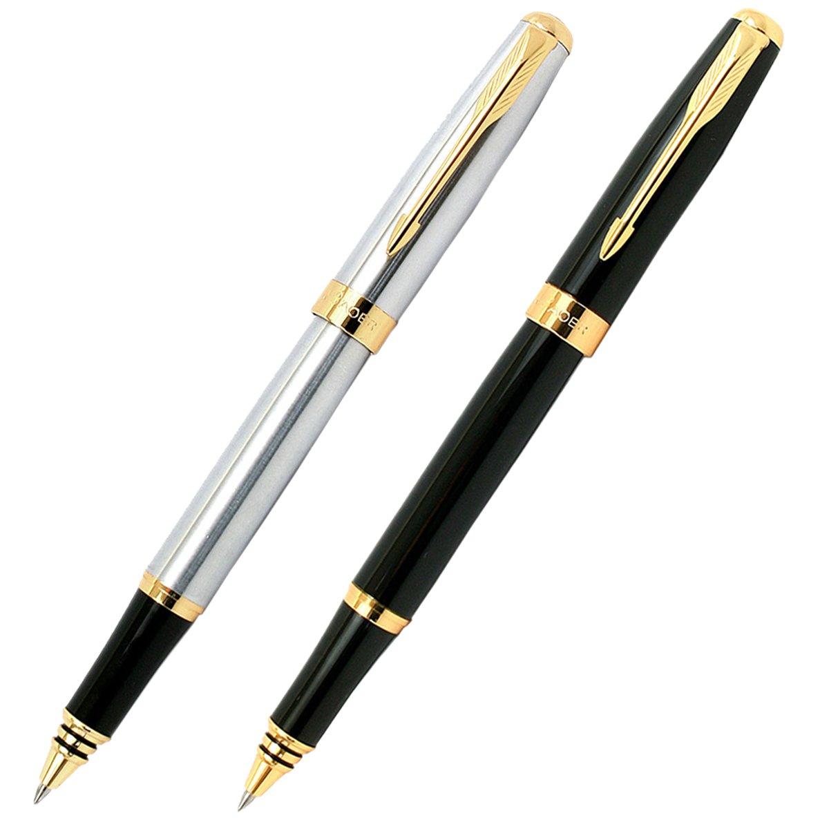 GOLD LEAF Baoer Royal 388 Sliver & Black Roller Pens Combo Gift Set Pack of  2: Amazon.in: Office Products