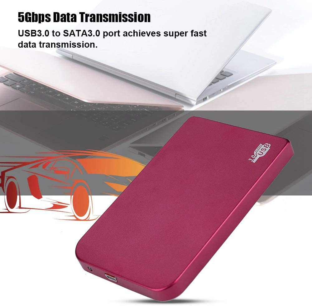 Fishlor Portable External HDD Enclosure 红色 2.5in HDD Enclosure USB3.0 to SATA3.0 5Gbps Data Transmission External HDD Enclosure