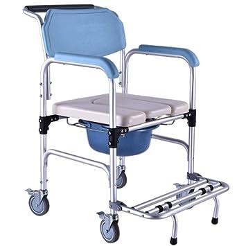 LIULIFE Sillas con Inodoro Ancianos WC Aseo Silla De Ruedas Móvil Heces Antideslizante Silla De Baño para Discapacitados,Blue: Amazon.es: Hogar