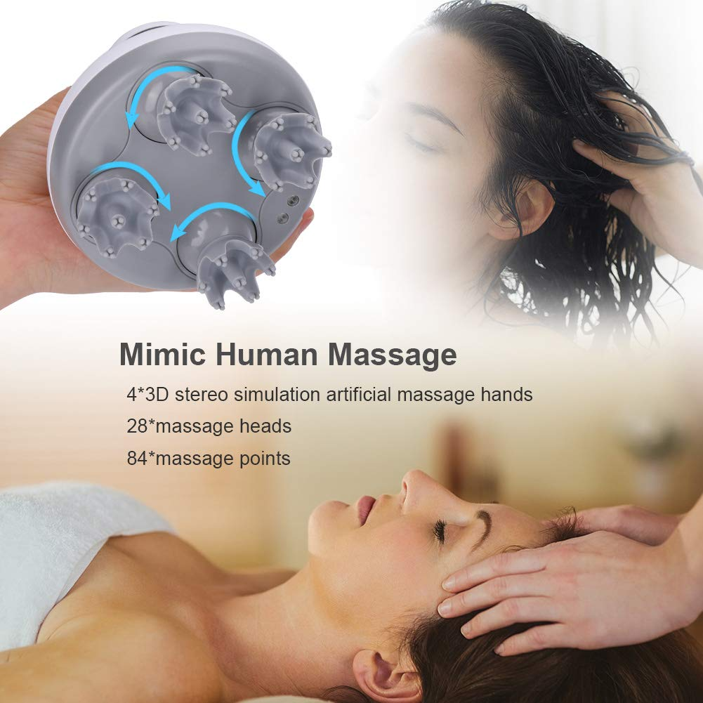 Electric Scalp Head Massager, Portable Handheld Massager 4 Heads with 84 Nodes for Stimulating Hair Growth, Deep Clean and Stress Release by Haofy (Image #6)