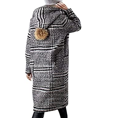 9c3db33177 Winter Hooded Coats for Women Plus Size Faux Wool Long Cardigan Lattice  Print Jackets with Ball