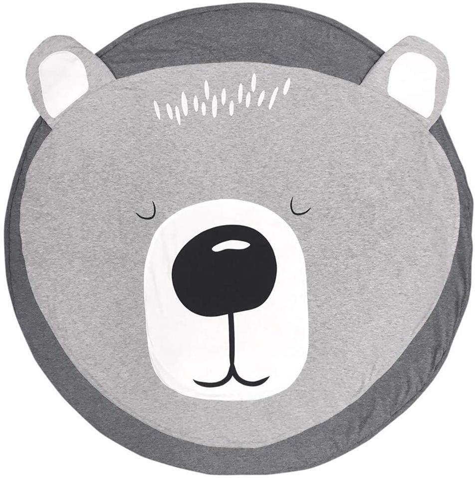 Cerf Queta Tapis Ramper b/éb/é Tapis de jeu Tapis Ramper de enfants Rond Animaux Moquette Enfant Tapis pour Fille Gar/çon 90x90cm